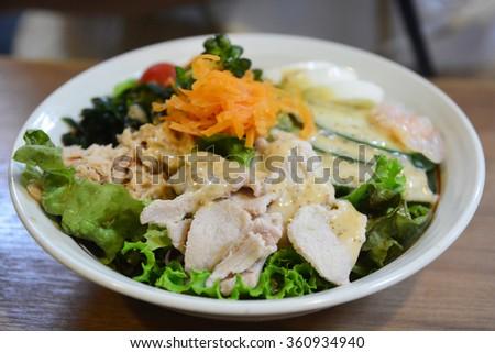 Fresh Caesar Salad with Chicken - stock photo
