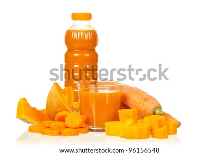 Fresh carrot and pumpkin juice isolated on white background - stock photo