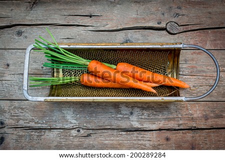 Fresh carrot inside the antique grater on the rustic wooden table - stock photo