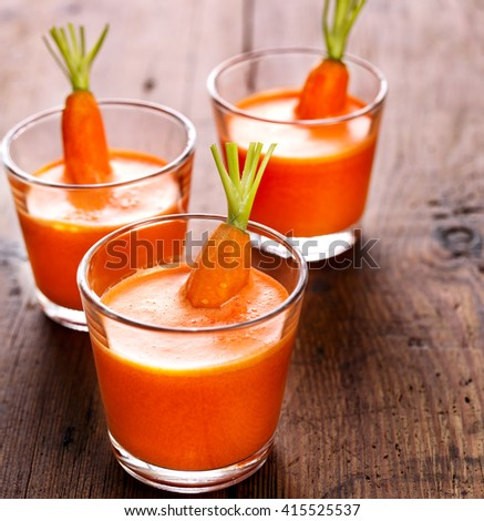 Fresh carrot juice, healthy and delicious drink