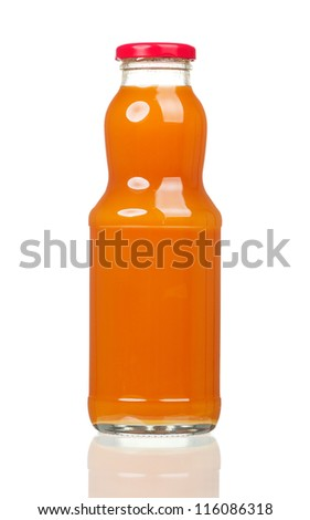 Fresh carrot juice in a bottle isolated on white background	 - stock photo
