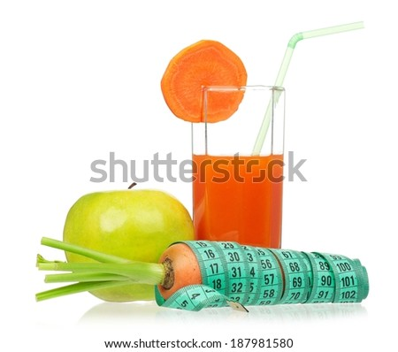 Fresh carrot juice with apple isolated on white background - stock photo