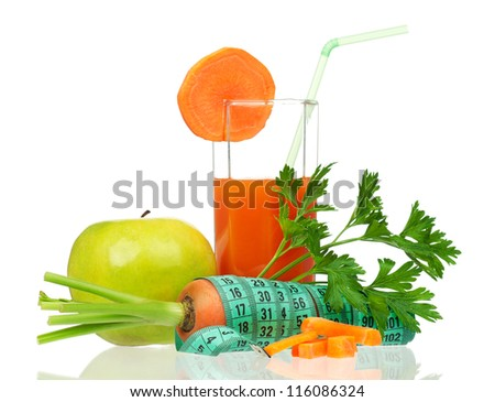 Fresh carrot juice with vegetables  isolated on white background - stock photo