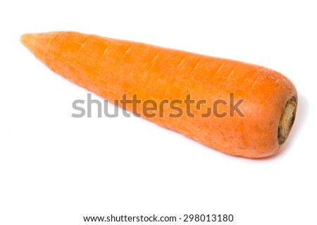 Fresh carrot on an isolated white background.
