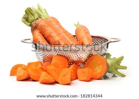 fresh carrot on white background  - stock photo