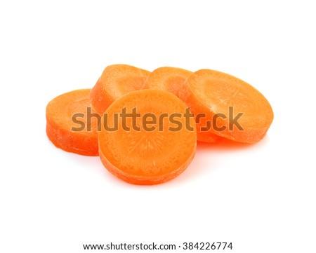 Fresh carrot slice on white background. - stock photo