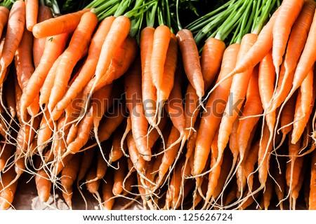 Fresh Carrots At The Local Market - stock photo