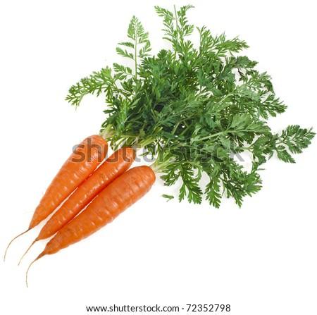 fresh carrots close up isolated on white background   - stock photo