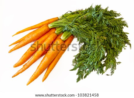 Fresh carrots isolated on white - stock photo