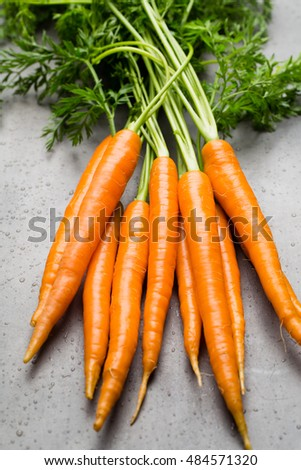Fresh carrots on the gray backgrounds.