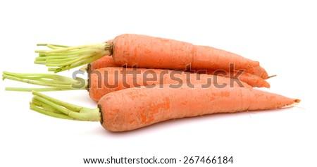 fresh carrots on white background  - stock photo