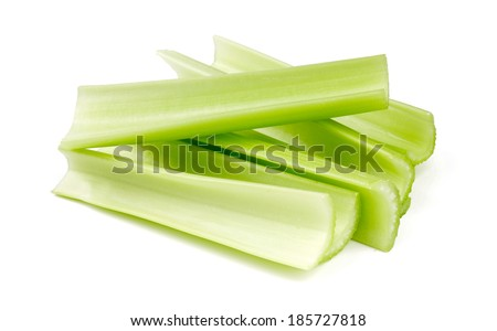 fresh celery isolated on white background - stock photo