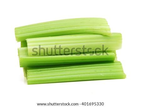 fresh celery on a white background - stock photo