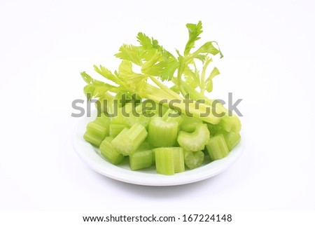 Fresh celery on the plate - stock photo