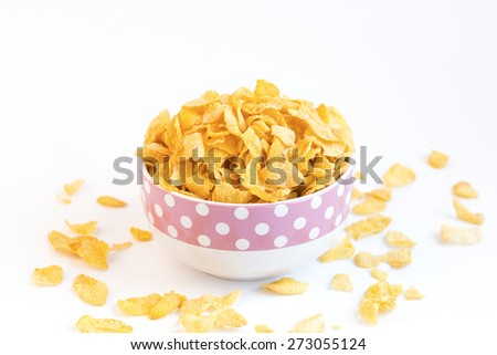 fresh cereal cornflakes in a bowl - stock photo