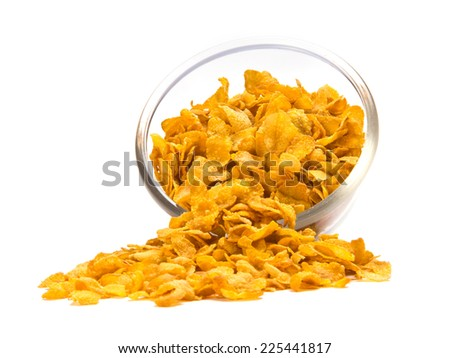 fresh cereal cornflakes in a bowl isolated on white background