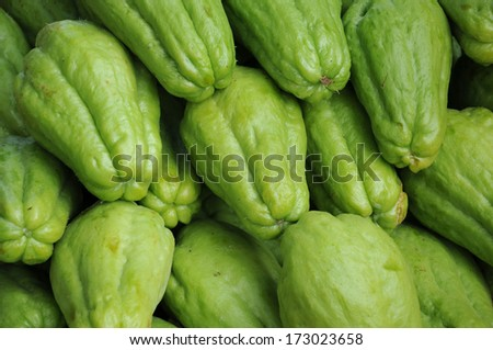 Fresh Chayote vegetables  - stock photo