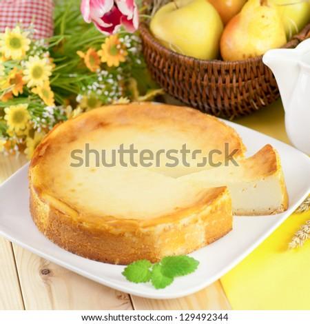 Fresh cheesecake - stock photo