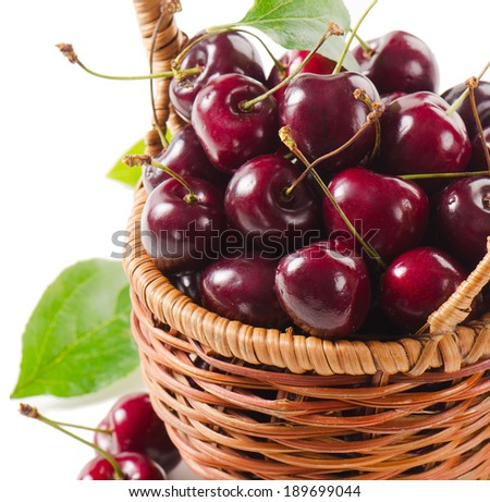 Fresh cherries in a basket. Selective focus