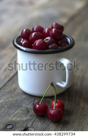 Fresh cherries in bowl on table, close up - stock photo