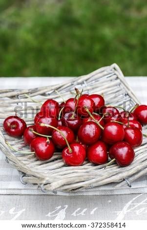 Fresh cherries in wicker basket on wooden table in the garden - stock photo