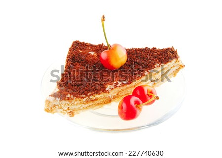 fresh cherry and cheese cake on transparent dish - stock photo
