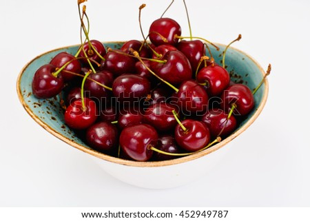 Fresh Cherry in Wooden Bowl Studio Photo