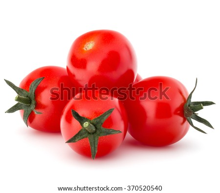 fresh cherry tomato isolated on white background cutout - stock photo