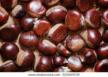 Fresh chestnuts, top view