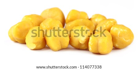 Fresh chickpeas over white background - stock photo