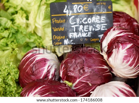 Fresh chicory vegetables for sale on Provence market of Marseille, South France - stock photo