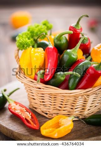 Fresh chili peppers  - stock photo