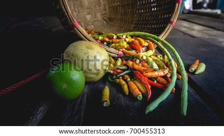 Fresh chilies in a basket
