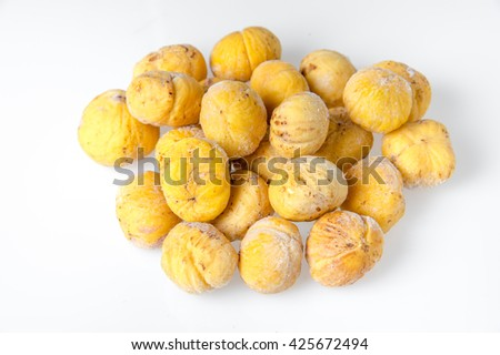 fresh Chinese chestnut isolated on white background - stock photo
