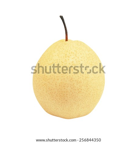 fresh chinese pear isolated on white background, oriental pear - stock photo