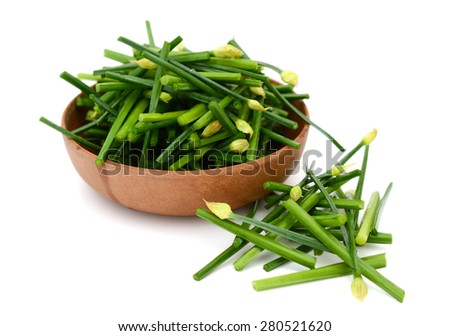fresh chives in bowl isolated on white  - stock photo