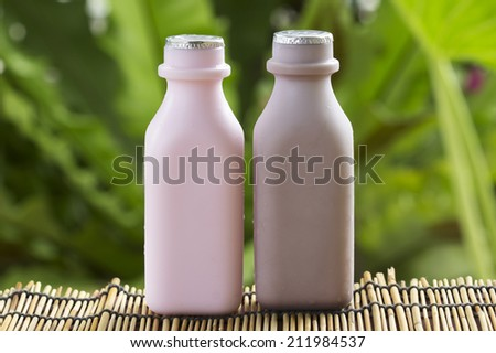 Fresh Chocolate and Strawberry flavor Milk in plastic bottle
