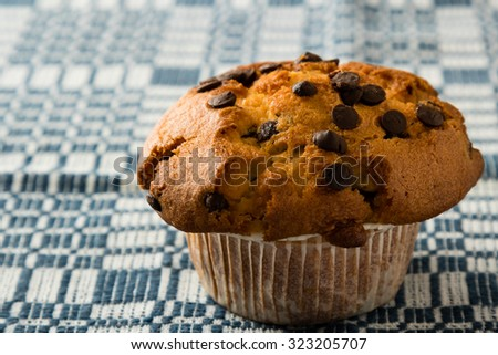 fresh chocolate chip muffin on checkered tablecloth