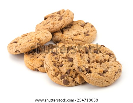 Fresh chocolate cookies isolated on white background - stock photo