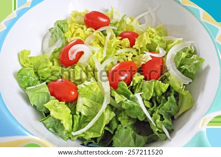 Fresh chopped Romaine lettuce, ripe cherry tomatoes and sliced white onion in a colorful salad bowl - stock photo