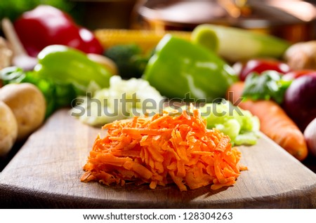 fresh chopped vegetables on a cutting  board