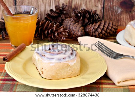 Fresh cinnamon bun with a glass of apple cider and cinnamon sticks in a fall setting. - stock photo