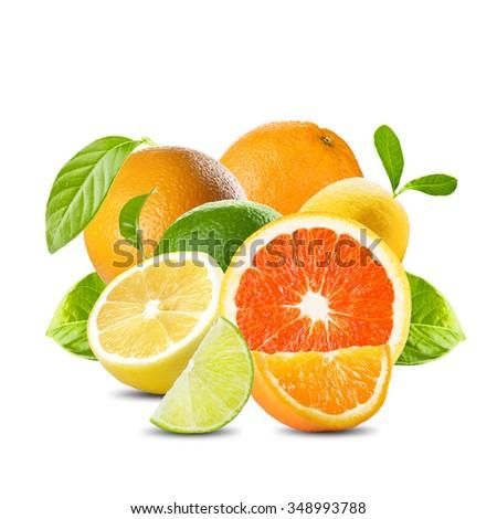 Fresh Citrus Fruits. Lemon, Lime, Orange, Grapefruit Cut In Pieces On White Background - stock photo