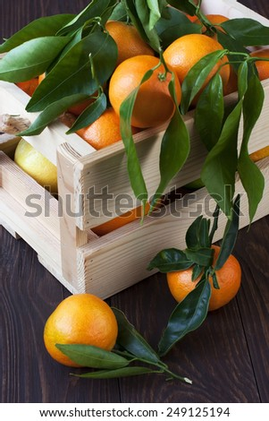 Fresh citrus fruits with green leaves in wooden box on color wooden background - stock photo