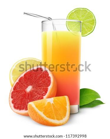 Fresh citrus juice isolated on white - stock photo