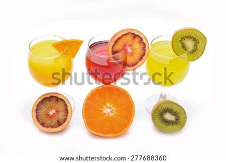 Fresh citrus juices isolated on white background  - stock photo