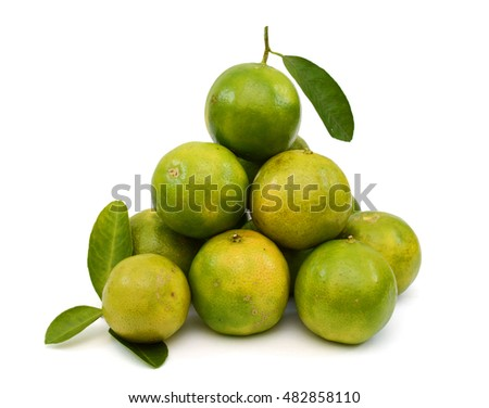 Fresh Citrus limonia fruits isolated on white background