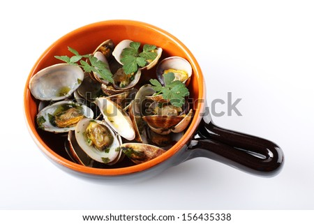 Fresh clams in the pot on white background - stock photo