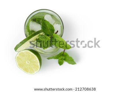 fresh classic long drink mojito, isolated on white background - stock photo