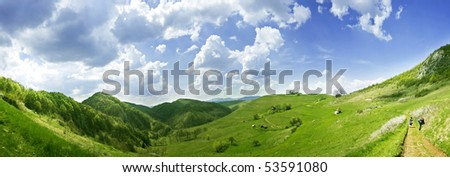 Fresh, clean summer landscape panorama - stock photo